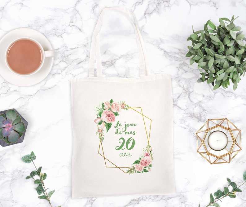 Tote bag anniversary geometric crown and flowers badge image 0