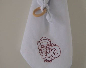 Swaddle baby custom embroidered cat