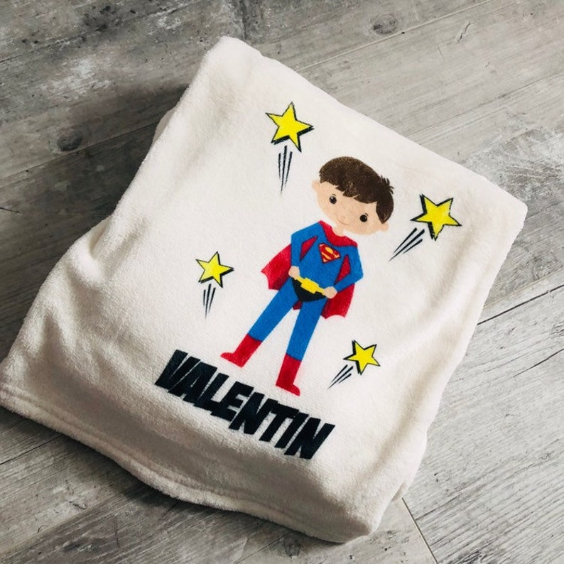 personalized baby blanket super hero image 0