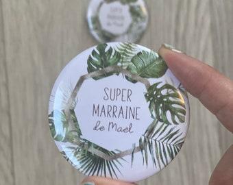 Large badge / mirror / bottle opener / magnet godmother godfather personalized witness jungle