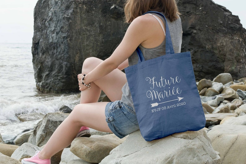 Tote bag bride-to-be and arrow bleu jean
