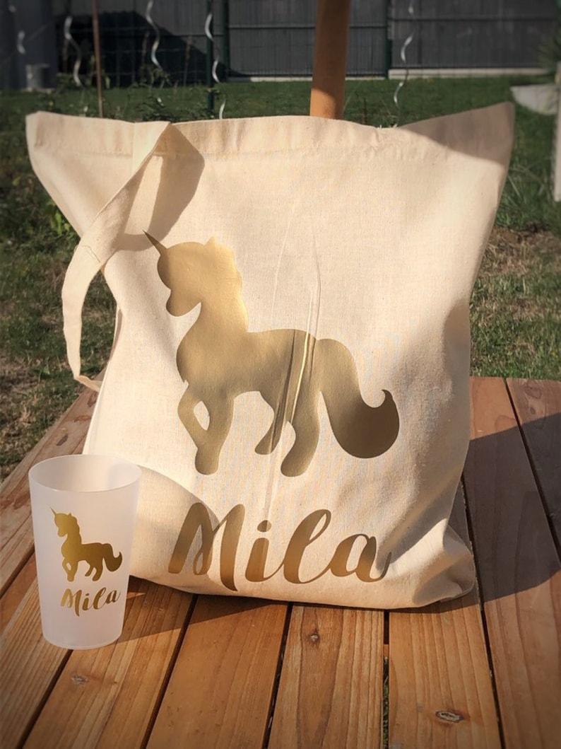 Kit bag and reusable plastic cup name unicorn gold image 0