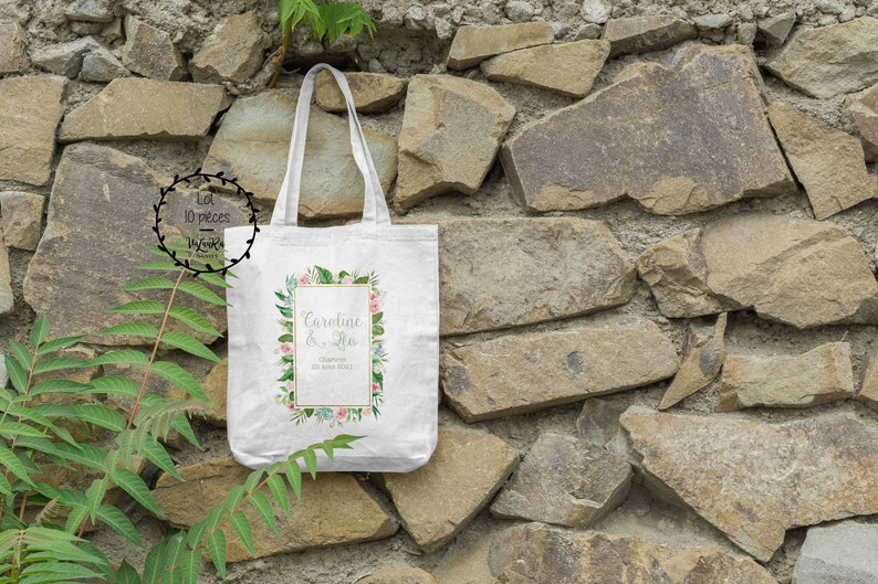 Lot 10 guest bags geometric wedding and leaves image 0