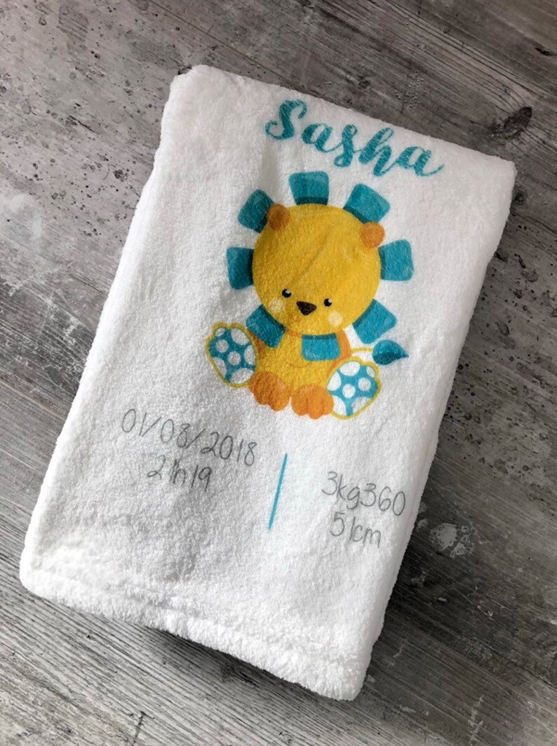 baby blanket personalized lion image 0