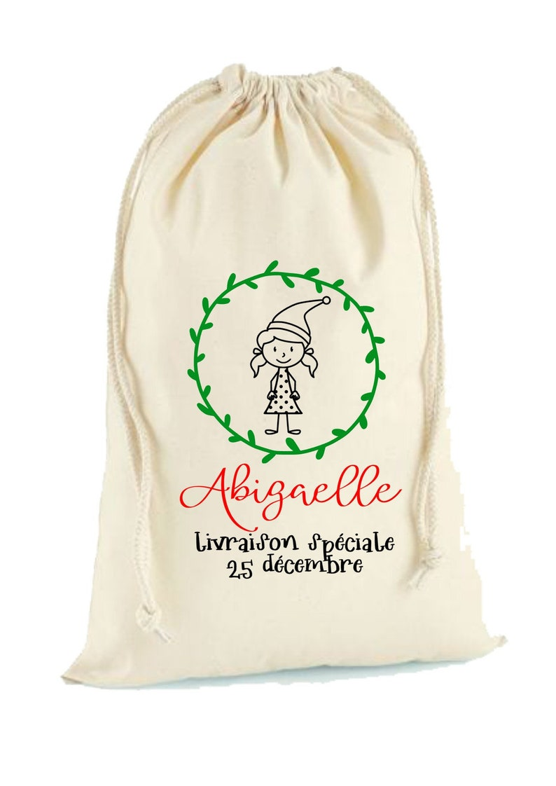 Personalized Christmas baluchon elf girl image 0