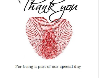 Thank You for Being A Part of our Special Day Fingerprint Heart Wedding Wine Label