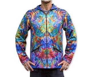 Psychedelic hoodie 'Holographic Altar'. Trippy hoodie, UV active rave hoodie. Zip up hoodie, sublimation, boho festival jacket, Hoody