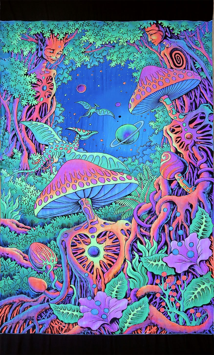 Psychedelic Batik Wall Hanging Tapestry Psy Shroom