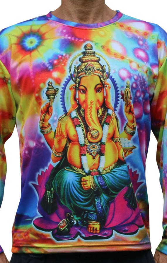 Long sleeve T shirt 'Psy Ganesha'. Psychedelic T, trippy T, UV active rave T, trance festival T shirt, visionary art T. Sublimation print