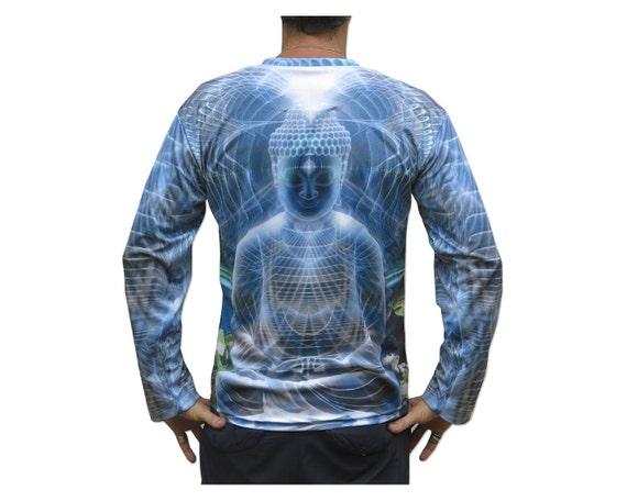 Psychedelic Long Sleeve T shirt 'Ocean Buddha'. Sublimation print. Trippy T shirt, UV active, rave, trancewear, festival wear, visionary art