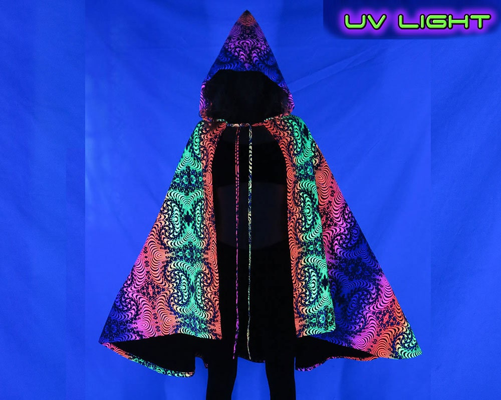 49d827c036f6 Hooded Cape  Rainbow Fractal . Psychedelic Superhero