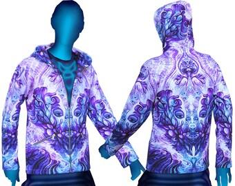 Psychedelic Hoodie 'Purple Plasm'. Trippy hoodie, UV active festival hoodie. Trippy jacket, Rave hoodie, Visionary art jacket, Boho jacket
