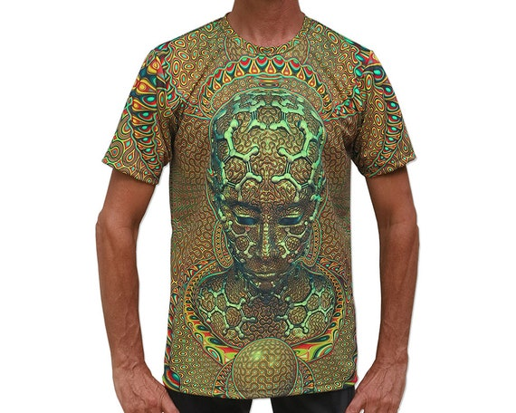 Psychedelic T shirt 'Micro Macro UV'. UV active, Trippy, festival t shirt, Psy Trance, Rave wear, Psychedelic clothing, visionary art