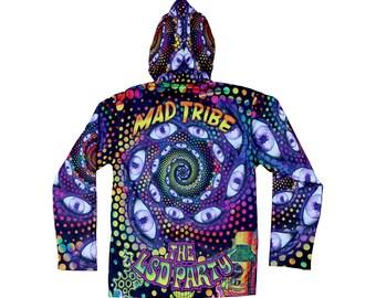 Psychedelic hoodie 'Spaced Out'. Trippy hoodie, rave hoodie. Zip up hoody, boho festival jacket, Hoody. Party jacket, Mad Tribe, Psy trance