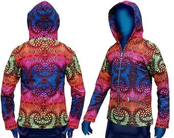 Trippy hoodie 'Rainbow Fractal' Psychedelic hoodie, UV active festival hoodie. Trippy jacket, rave hoodie, visionary art jacket, boho jacket