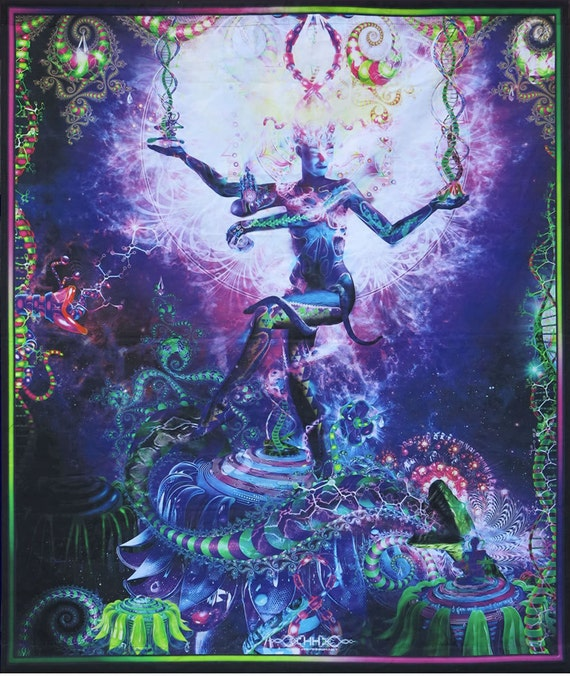 . Trippy wall hanging  Psychedelic tapestry  Serpentine Apotheosis   Digital  print  trippy wall art  home decor  Visionary art  Ayahuasca