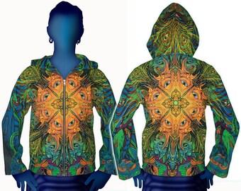 Psychedelic hoodie 'Polymorph'. Trippy hoodie, UV active, festival hoodie. Trippy jacket, Rave hoodie, Visionary art jacket, Boho jacket