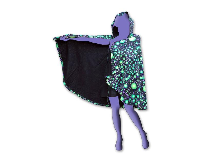 3de2108d043a Pixie hood cape  Atomic Alien . UV active cloak with