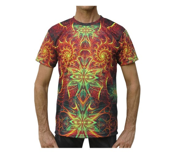 Trippy T shirt 'UV Divine Seraphim'. Psychedelic T-shirt, fractal sublimation print, UV active, rave tee, festival T-shirt, visionary art