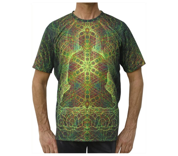 Psychedelic T shirt 'Rainbow Buddha' UV active, Trippy T shirt, Festival t shirt, Psy Trance, Rave wear, Psychedelic clothing, visionary art