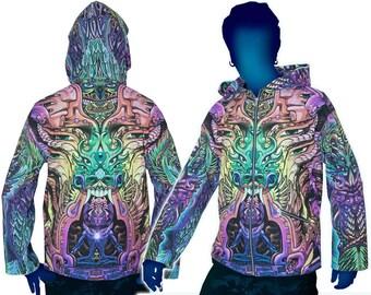 Trippy Hoodie 'Alpha Centauri'. Psychedelic hoodie, UV active festival hoodie. Trippy jacket, Rave hoodie, Visionary art jacket, Boho jacket