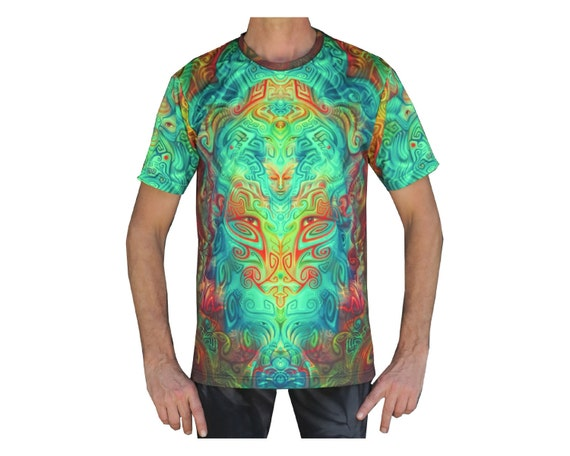 Psychedelic T shirt 'Ancestral Ornament'. UV active, Trippy t shirt, Festival t shirt, Psy Trance, Rave wear, Psychedelic clothing