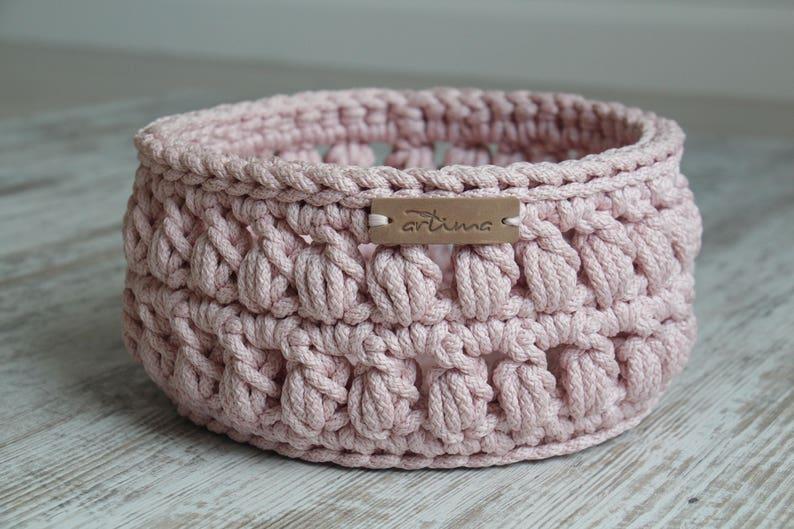 6631ade63e53 Pink storage basket, Round crochet basket, Crochet storage, Bathroom  basket, Hallway basket, Nursery basket, Home storage, Key storage, Rope