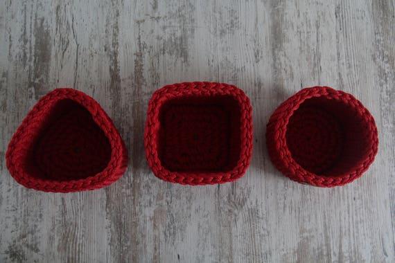 Rote Kleine Dreieck Korbhäkeln Weihnachten Etsy