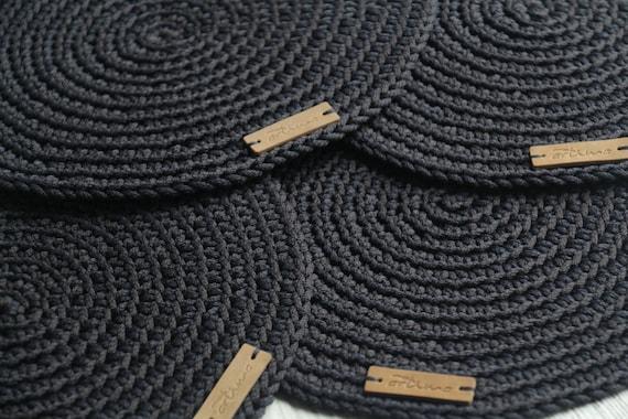 Dark Grey Crochet Table Mats Round, Round Table Mats