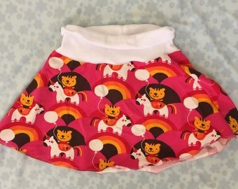 Rainbow Unicorn Tiger Skater Skirt Size 2