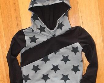 Black Stars On Grey Slant Seam Hoodie Sizes 000-4