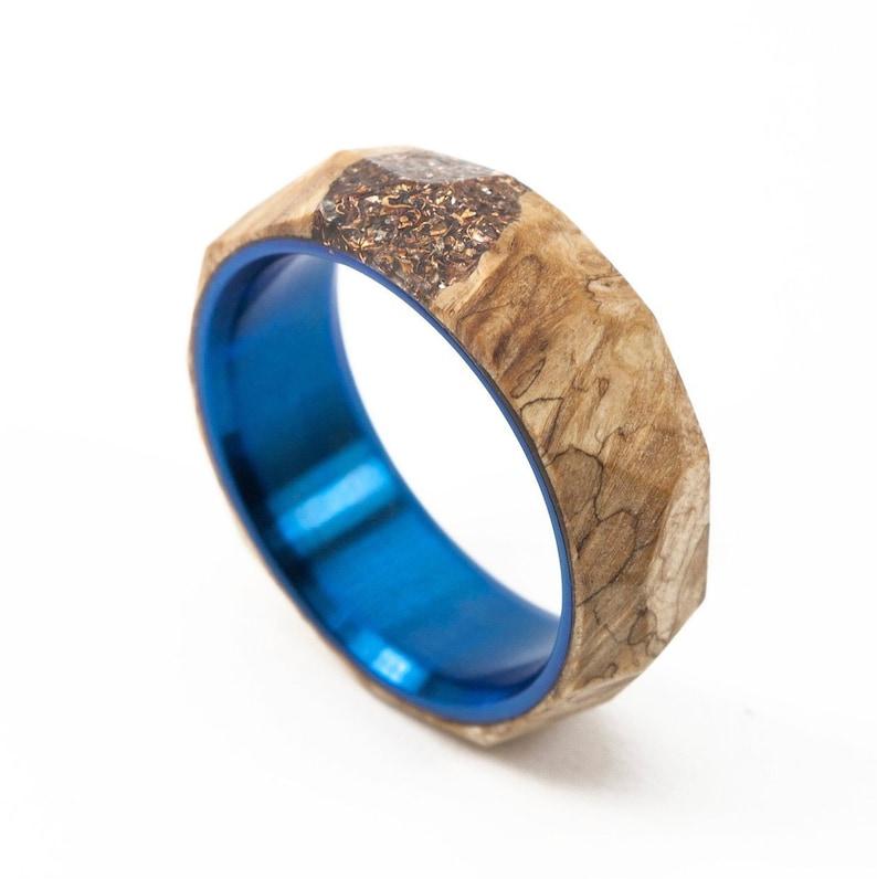 Maple Crystal Ring BlueTi | Titanium ring, Wood ring, Maple ring, Facet  ring, Stabwood ring