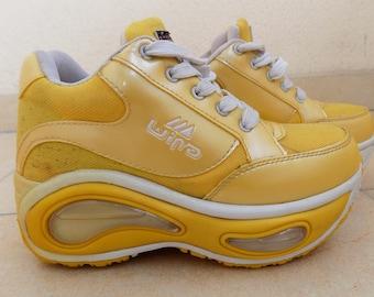 5a02ee2222a8 Vintage 90 s 1999 Rare Big Yellow Platform Sneakers EU 37 US 6