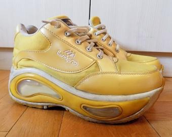 24476d8685d3 Vintage 90 s 1999 Rare Big Yellow Platform Sneakers EU 40 US 9