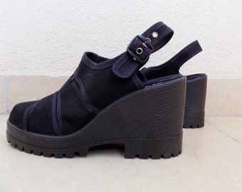 aef43e973d8 Vintage Yugoslavia 80 s Black Platforms Chunky Sandals-Free Shipping!