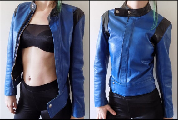 Vintage 80's Blue Leather Motorcycle Jacket