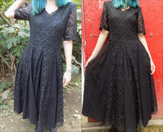 Vintage Black Witch Medieval Goth Long Lace Dress