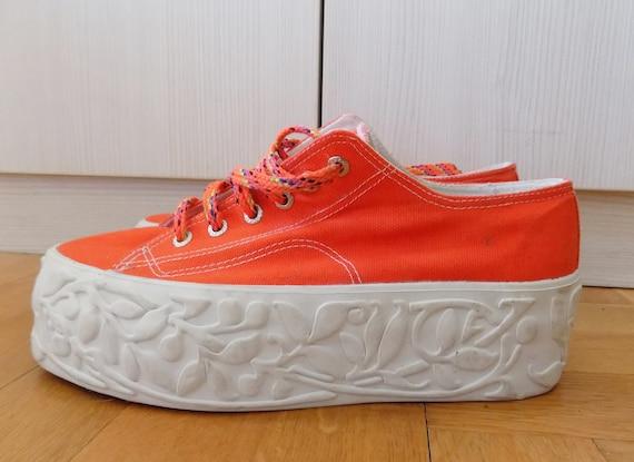 Vintage 90's Orange Grunge Platform Canvas Vegan Sneakers EU 40 41 US 9