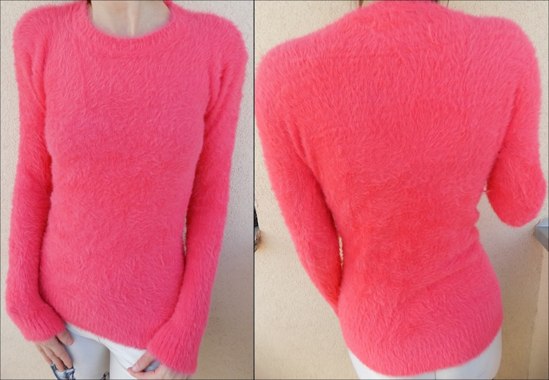 90/'s Neon Pink Fluffy Rave Sweater