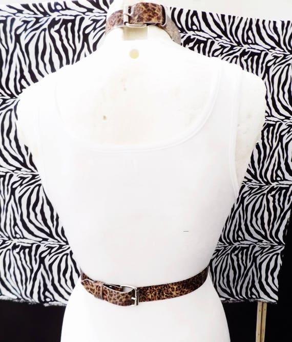 Animal Print Punk HarnessAnimal Print Punk Rock HarnessGlam O-ring Leopard Print Harness