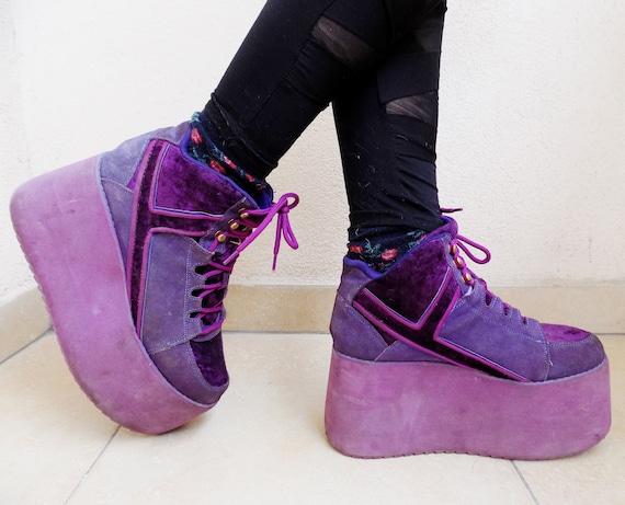 b26e89fa8aae 90 s Tower Purple Industrial-Goth Big Platform Sneakers EU