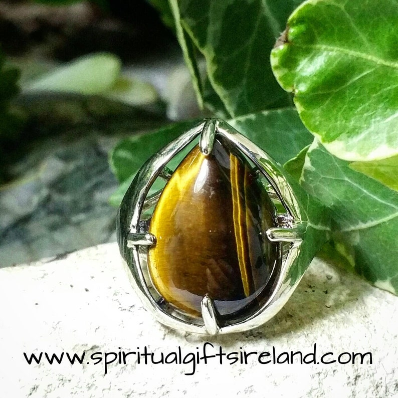 Tigers Eye Gemstone Crystal Ring Adjustable Size Genuine Quality Natural Stone Fits All Size Fingers Unique Unusual Something Different Gift