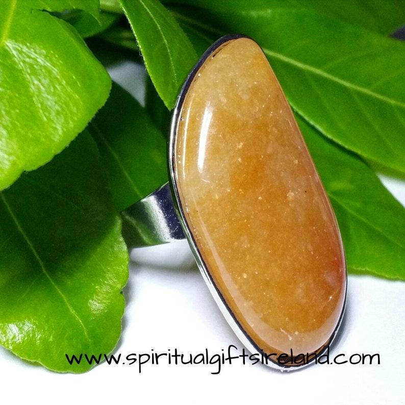 Wonderful Orange Quartz Universal Size Crystal Gemstone Ring Healing Spiritual Unusual Something Different Statement Piece Ireland Irish