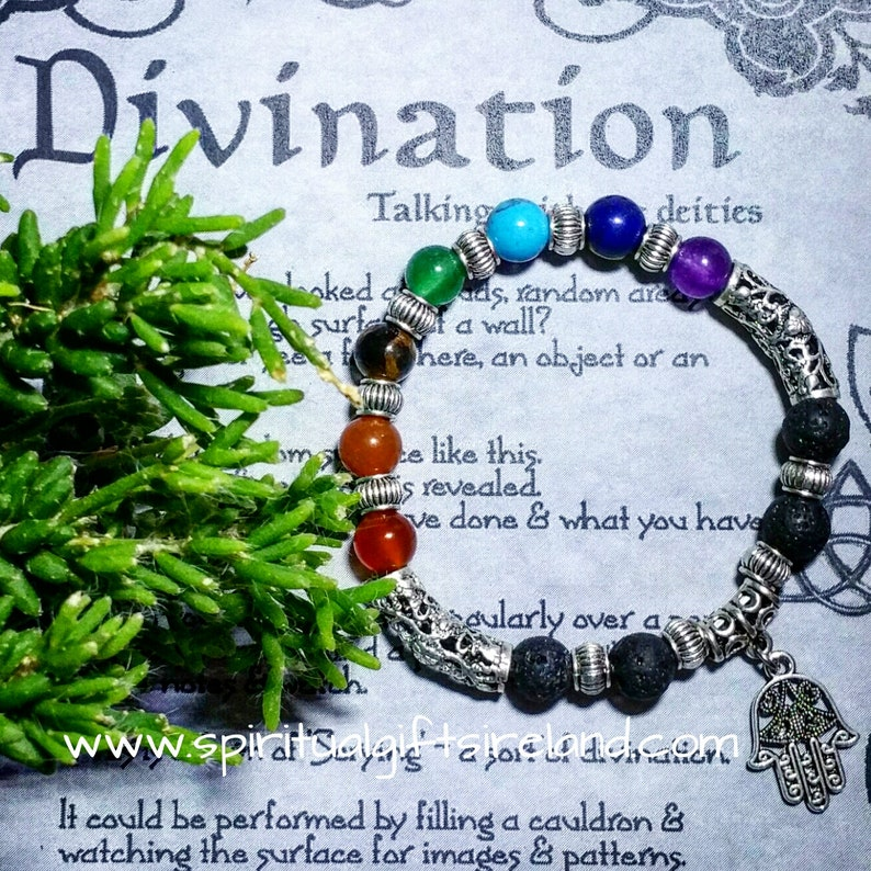 Lava Stone Aromatherapy Reiki Hamsa Hand Chakra Bracelet Spiritual Holistic  Hand of Fatima Special Meaning Inspirational Gift Statement Cuff