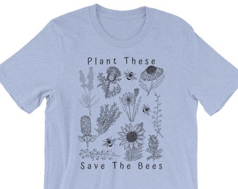 6fa22d24c Plant These Save The Bees Short-Sleeve Unisex T-Shirt    Different Color  Options    Bee Keeper Tee    Floral    Hippie Boho    Cute Gift Ide