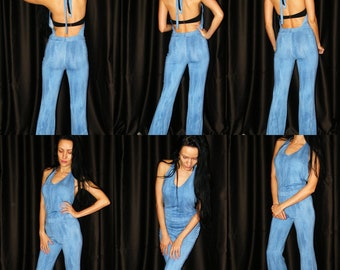 04775f80bc87 Blue Stretch Body Suit Overalls Flared Pants and Galter Top
