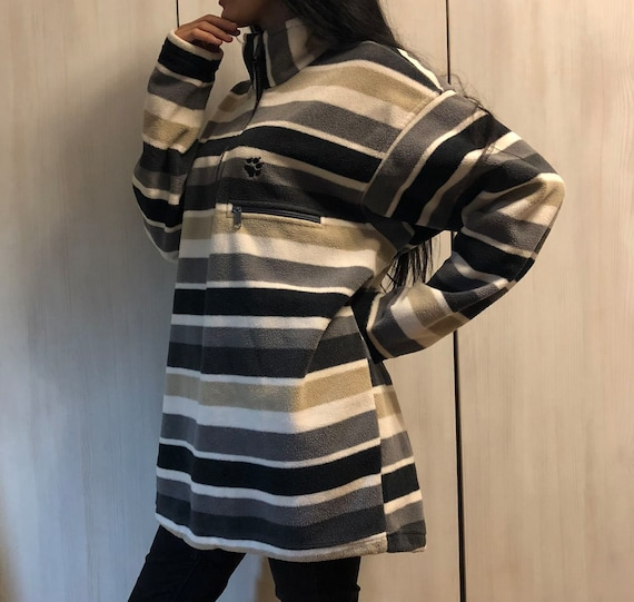 Vintage Jack Wolfskin Fleece Sweater, Polar Fleece Sweater, Striped Fleece Sweater, Vintage Jack Wolfskin Fleece Jacket