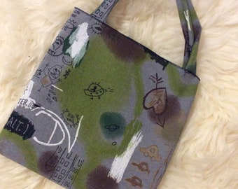 Painted Art Cotton Bag, Jeans Bag, Denim Bag