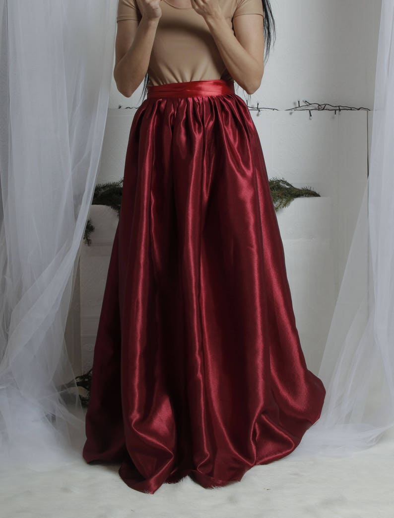 d6fa7b0da7 Dark Wine Satin Long Skirt Maxi satin skirt Long Burgundy | Etsy