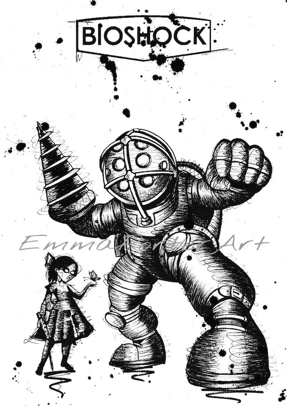 A4 Bioshock Big Daddy And Little Sister Art Print